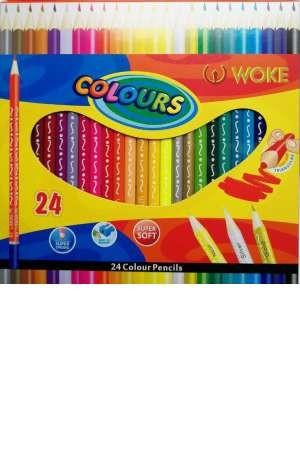 مداد رنگی 24 تایی مقوایی ووک