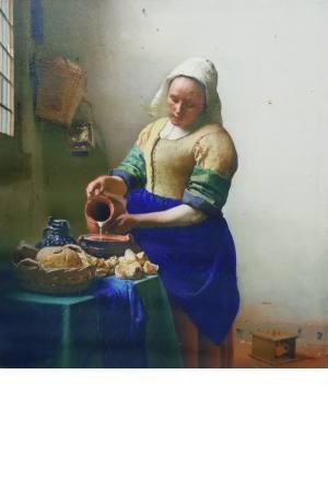 تابلو نقاشی دختر شیر دوش_ یوهانس فرمیر 45*40