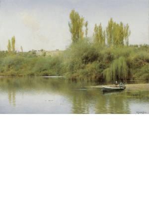 تابلو نقاشی قایقی بر روی رودخانه گوادایرا